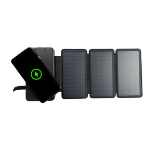 Tough Light 820W 3 Panel USB Solar Power Bank Charger - 20,000mAh Li Polymer with WIRELESS Phone Charging - 2AMP High Speed Cable Included