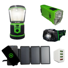 Load image into Gallery viewer, StormPAL Bundle - 820w Solar Power Bank with Headlamp, Flashlight, and USB Space Saver 4-Port Charger