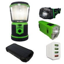 Load image into Gallery viewer, StormPAL Bundle - i26w Solar Power Bank with Headlamp, Flashlight, and USB Space Saver 4-Port Charger