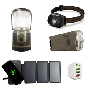 StormPAL Bundle - 820w Solar Power Bank with Headlamp, Flashlight, and USB Space Saver 4-Port Charger