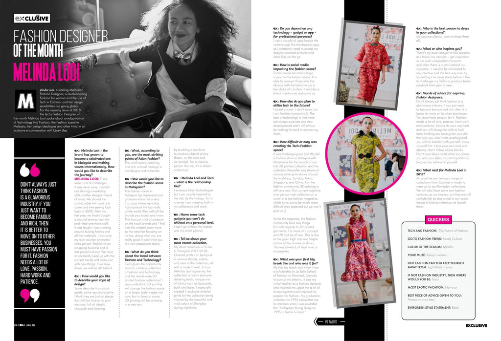 Melinda Looi Featured As Fashion Designer Of The Month In Exhibit Magazine!
