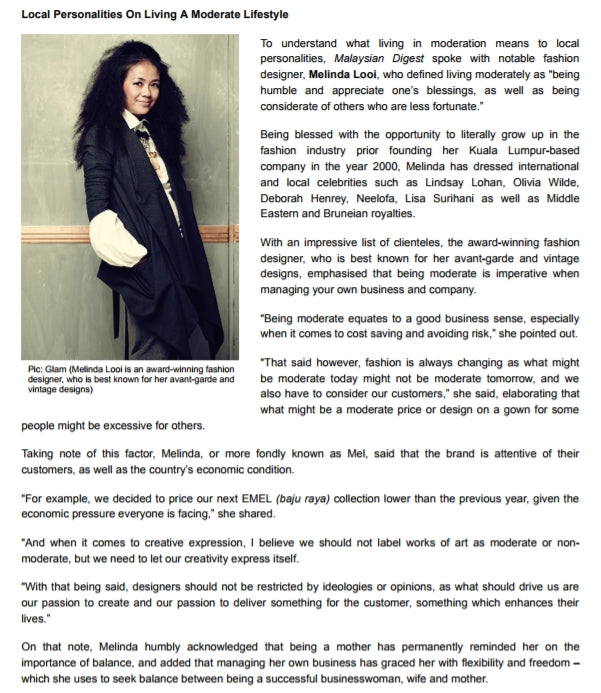Melinda Looi featured in Malaysian Digests' Living Moderately article.