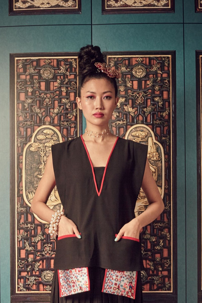 BLACK POLY WITH RED PIPING AND PRINTED ROJAK TILE POCKETS - V NECK TOP WITH EMBROIDED BUTTERFLY BELT - BLACK - Melinda Looi - Official Website