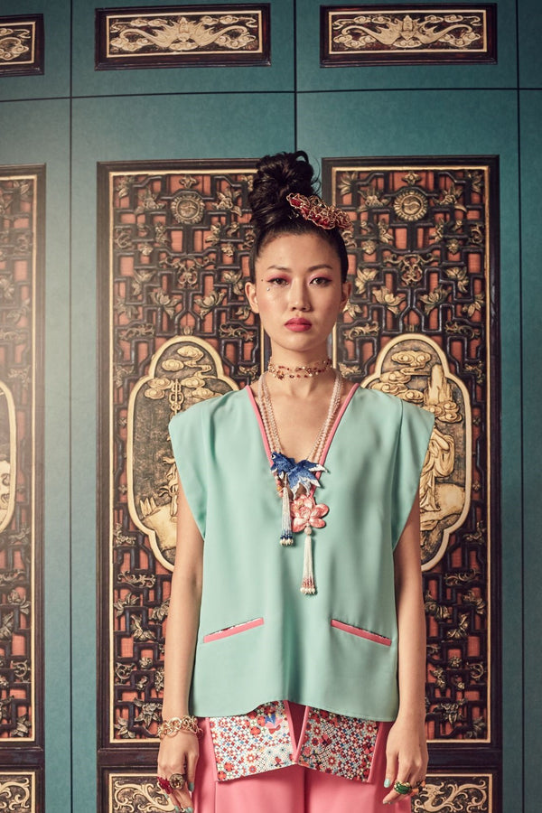 TEAL POLY WITH PINK PIPING AND PRINTED ROJAK TILE POCKETS - V NECK TOP WITH PATCH EMBROIDED BUTTERFLY BELT - TEAL - Melinda Looi - Official Website
