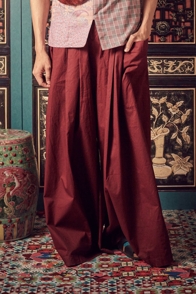 MAROON COTTON - MEN'S - PLEATED PALAZZO WITH ONE SIDE PATCH POCKET - MAROON - Melinda Looi - Official Website