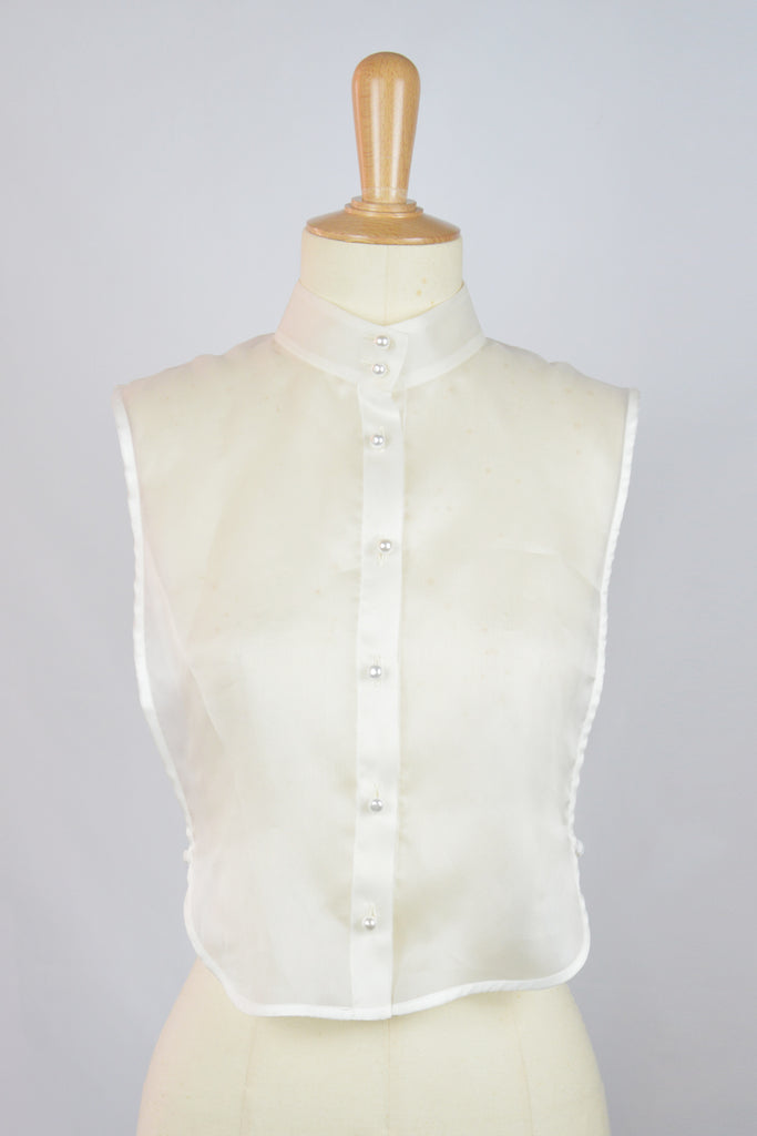 WHITE ORGANZA - BIB VEST WITH BABA NYONYA COLLAR - WHITE