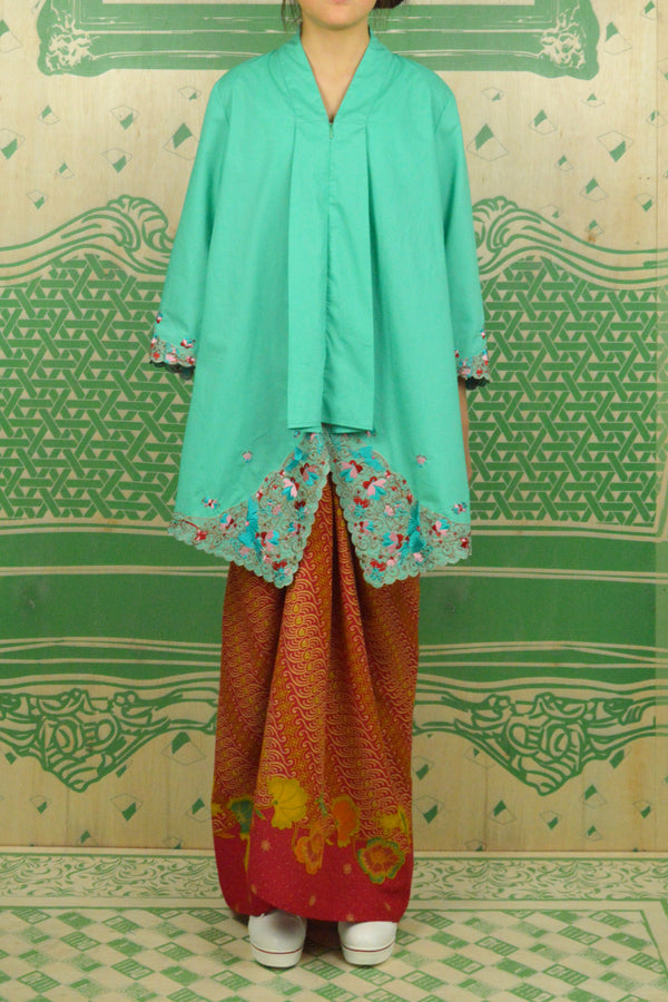 TEAL COTTON TOP WITH 3D FLORAL EMBROIDERY - BAJU KEBAYA LABUH WITH BATIK SARONG SKIRT - TEAL