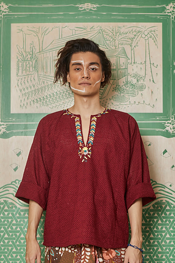 MAROON LACE WITH RIBBON AND BEADS EMBROIDERY BAJU KEDAH TOP - BAJU KEDAH TOP WITH INNER SINGLET MAROON