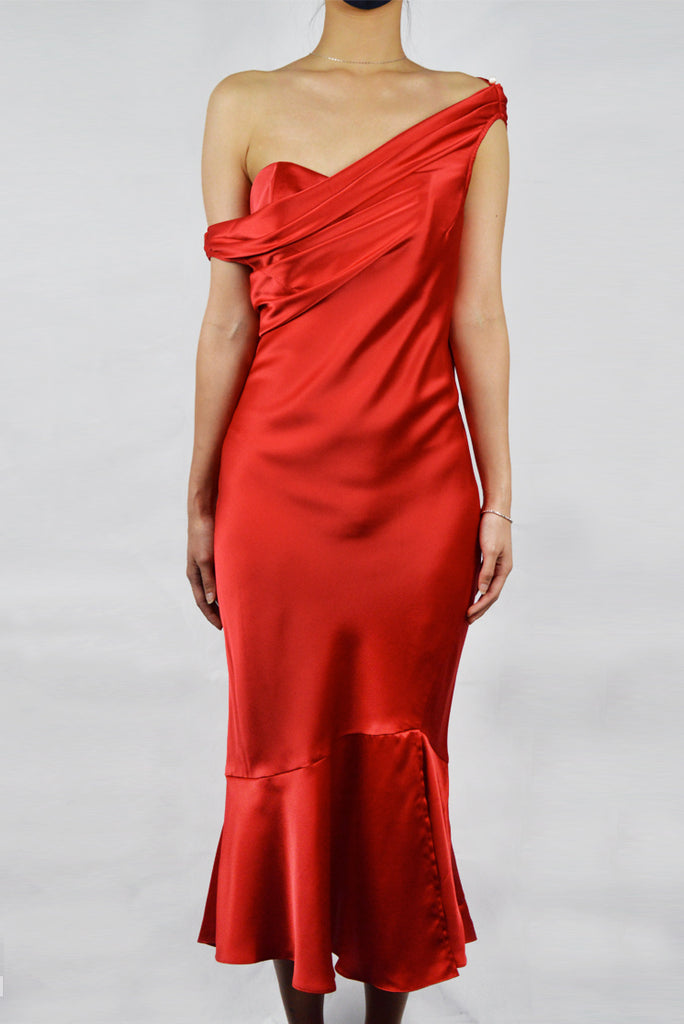 Pre-Order RED SPANISH SATIN - BIAS CUT DRESS WITH ADJUSTABLE COWL NECK AND BUSTIER - RED
