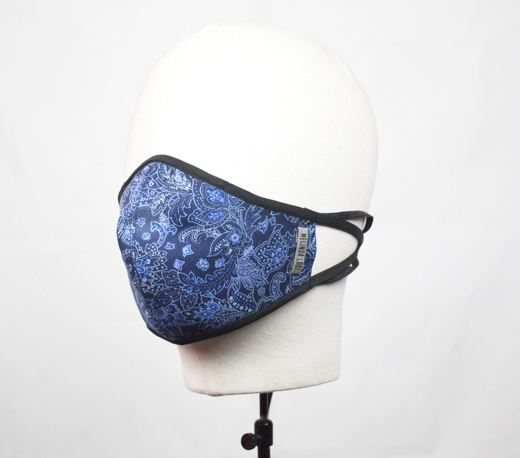 Priya - 5 Layer Mask With Ear Loop - Blue - F
