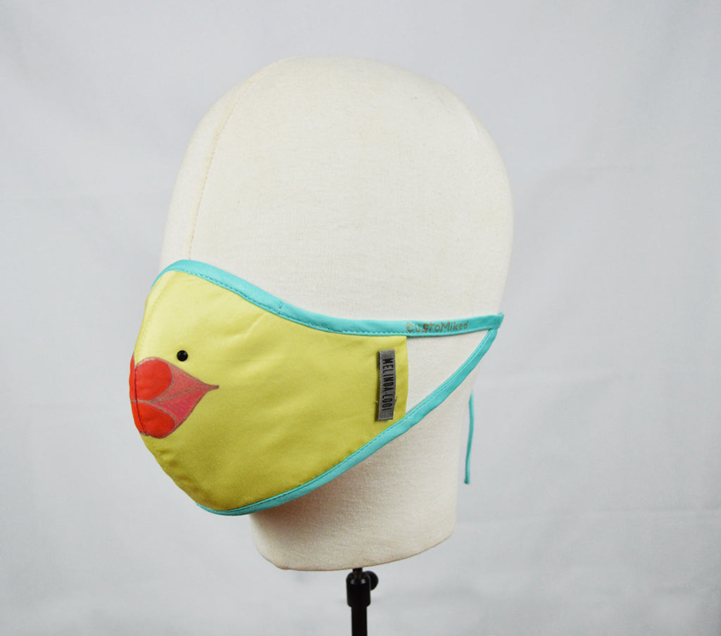 Yong - 5 Layer Mask (Limited Edition/Hand Painted Cotton Mask) - Yellow - F