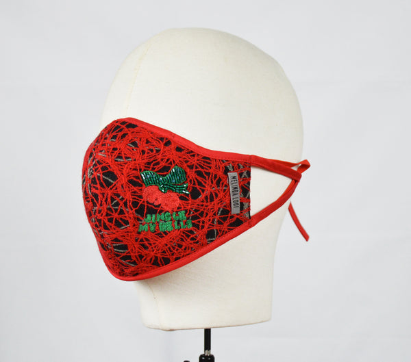 Margot - 5 Layer Mask with Ear Loop (Limited Edition/Hand Embroidered Mask) - Red - F