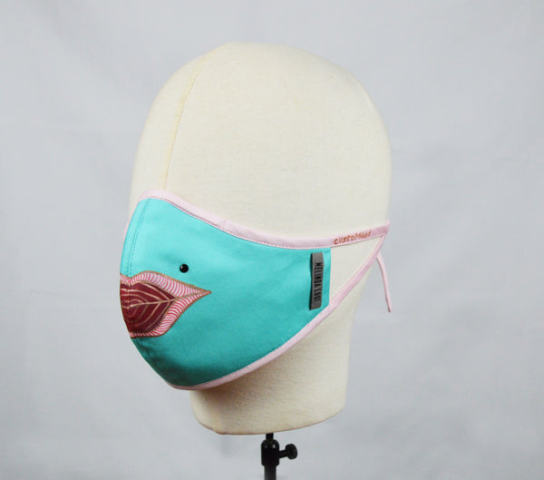 Fong - 5 Layer Mask (Limited Edition/Hand Painted Cotton Mask) - Teal - F