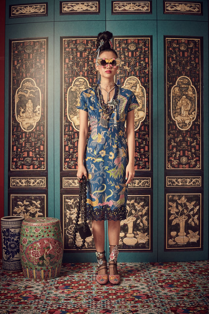 BLUE BATIK - V NECK WITH LACE TRIMMING FITTED DRESS - BLUE - Melinda Looi - Official Website