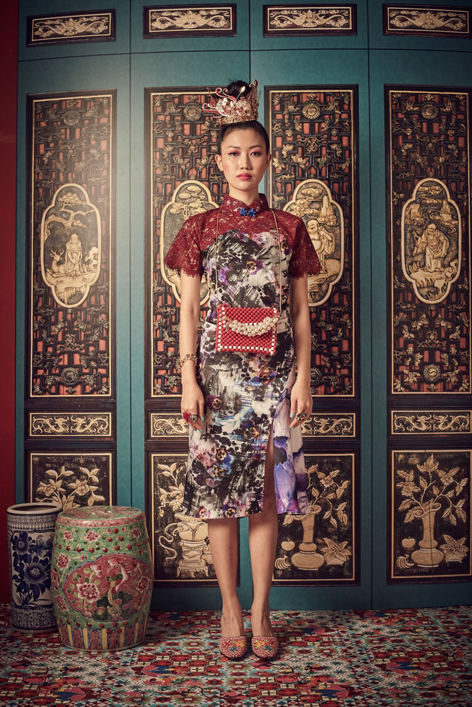 PURPLE PRINTED MOTIF WITH BURGANDY LACE - BIAS CUT CHEONGSAM WITH SIDE GATHERS AND MANDARIN COLLAR - BURGUNDY - Melinda Looi - Official Website
