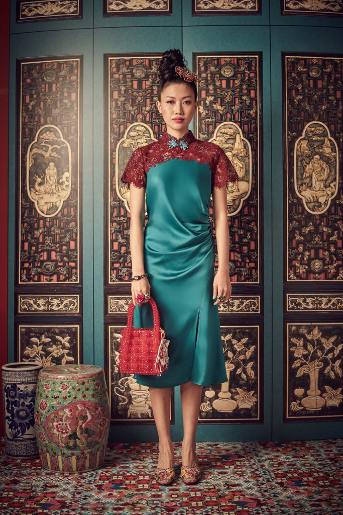 DARK BLUE SATIN WITH DARK RED LACE - BIAS CUT CHEONGSAM WITH SIDE GATHERS AND MANDARIN COLLAR - TEAL