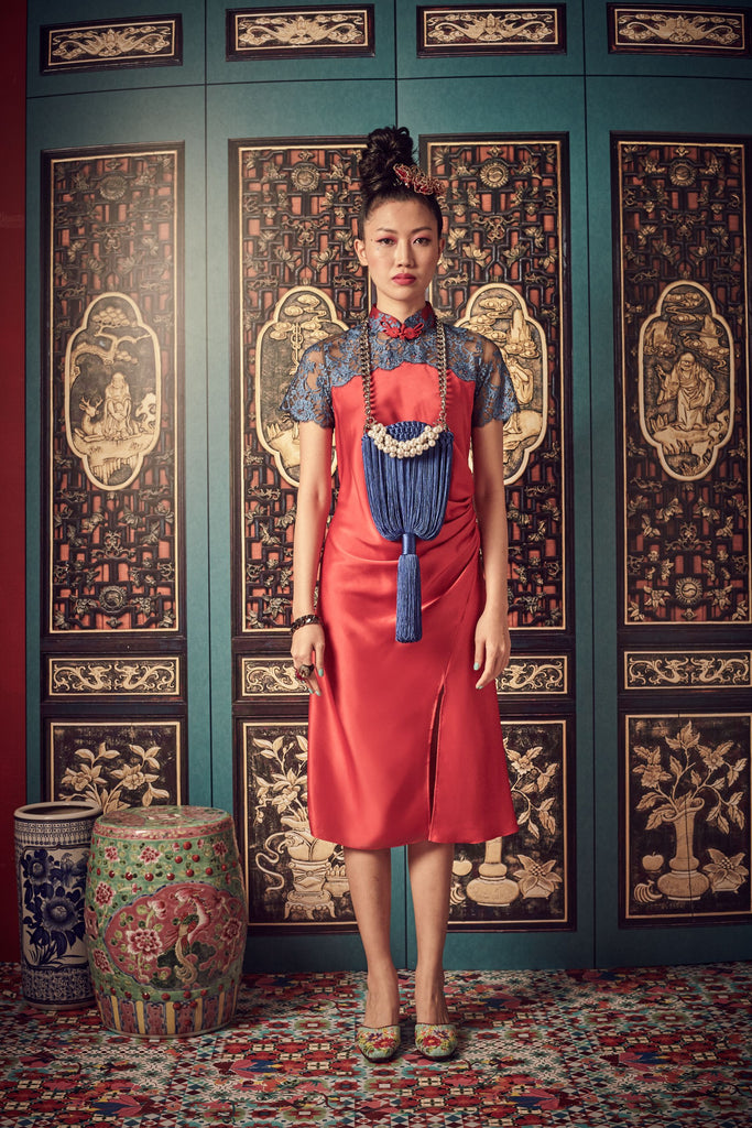 RED SATIN WITH BLUE LACE - BIAS CUT CHEONGSAM WITH SIDE GATHERS AND MANDARIN COLLAR - RED - Melinda Looi - Official Website