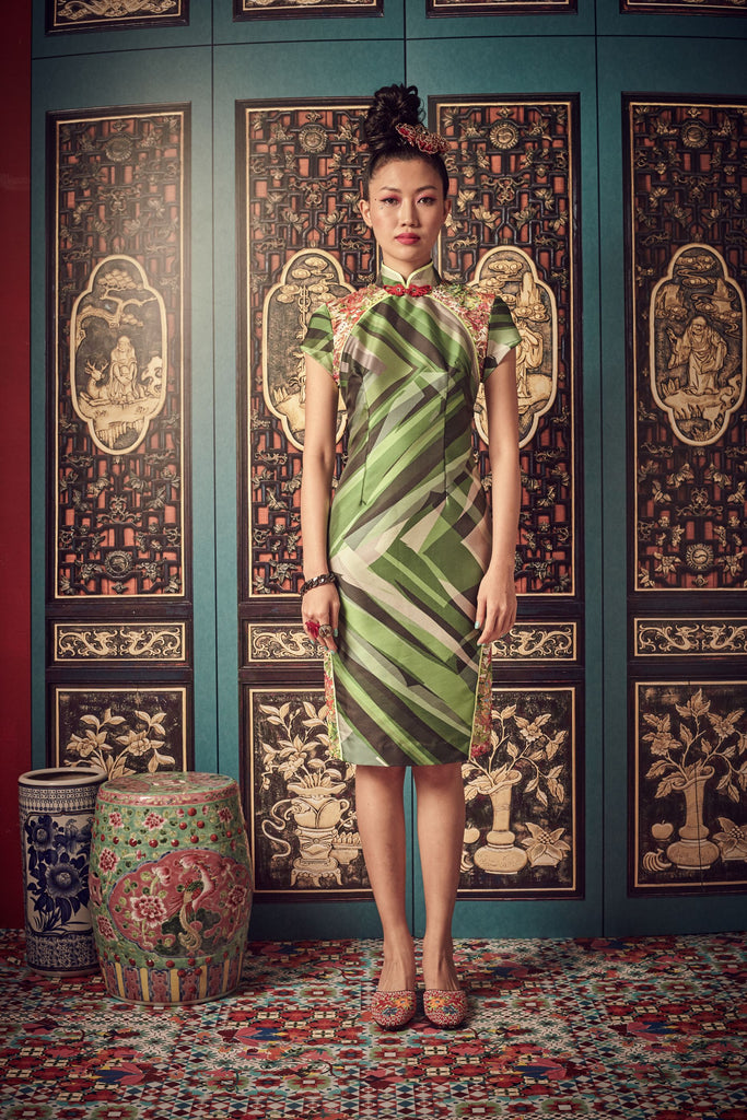 GREEN PRINTED TAFFETA WITH COLOURFUL LACE - CHEONGSAM WITH SIDE SLIT LACE PANEL - MULTI - Melinda Looi - Official Website