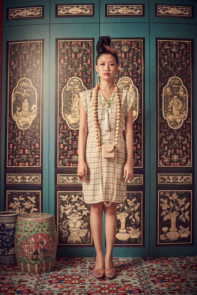 BLUE CHECKS WITH PINK BATIK LINING - V NECK DRESS WITH SIDE SLITS AND CHINESE BUTTON - BLUE - Melinda Looi - Official Website