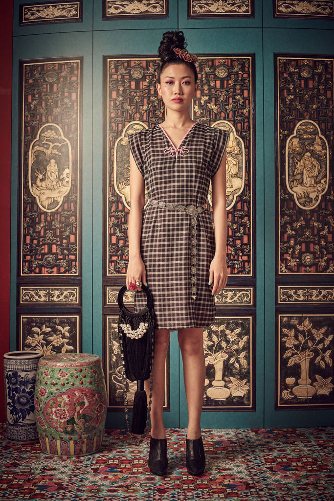BLACK CHECKS WITH PINK BATIK LINING - V NECK DRESS WITH SIDE SLITS AND CHINESE BUTTON - BLACK - Melinda Looi - Official Website