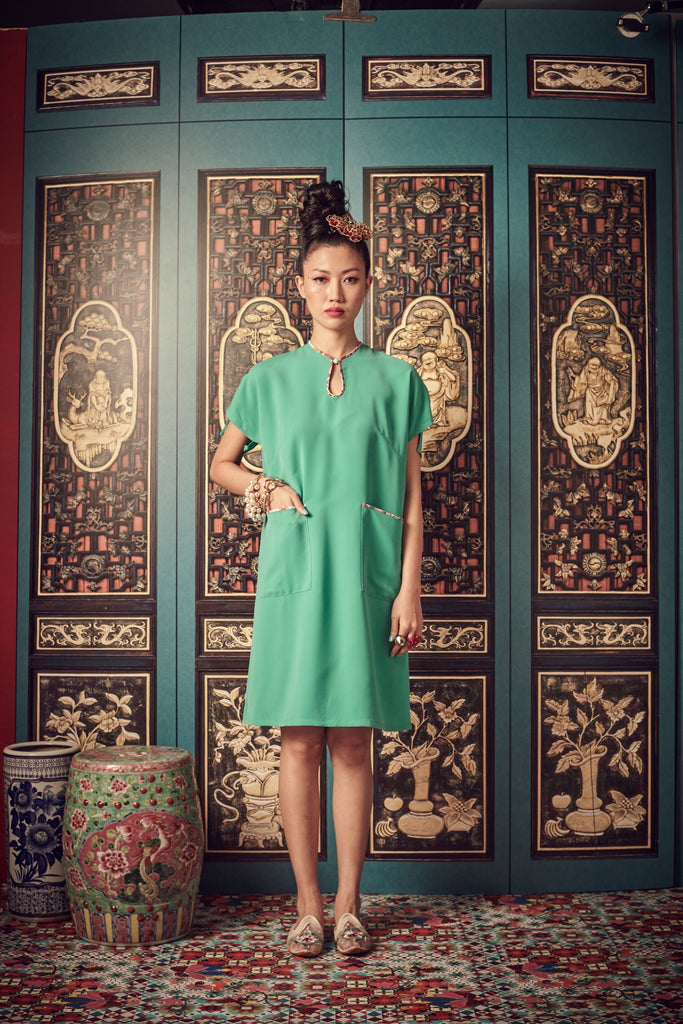 GREEN - POLY - A LINE DRESS WITH PATCH POCKETS - GREEN - Melinda Looi - Official Website