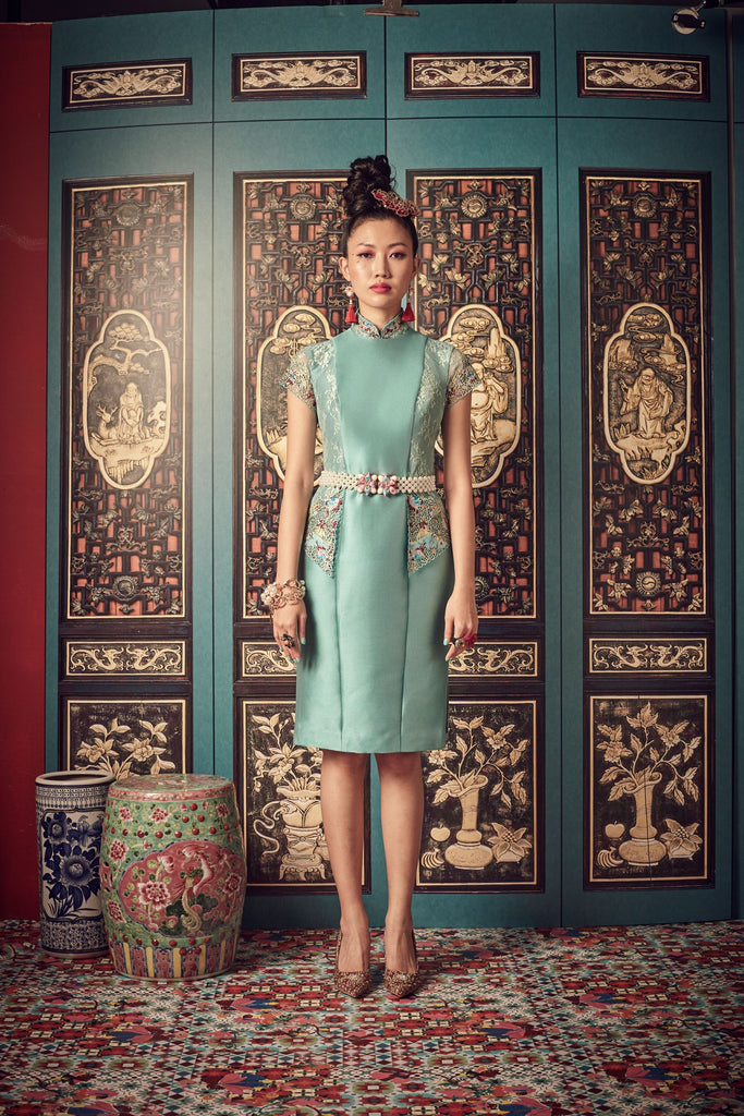 TURQUOISE HEAVY SILK AND LIGHT BLUE LACE - KEBAYA CHEONGSAM WITH REMOVABLE MANDARIN COLLAR - TURQOUISE - Melinda Looi - Official Website