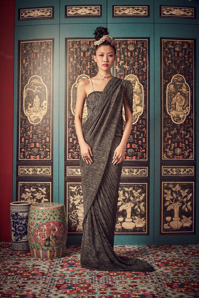 GUN METAL PLEATS WITH SILVER TAFFETA LINING - SINGLET GOWN - SILVER - Melinda Looi - Official Website