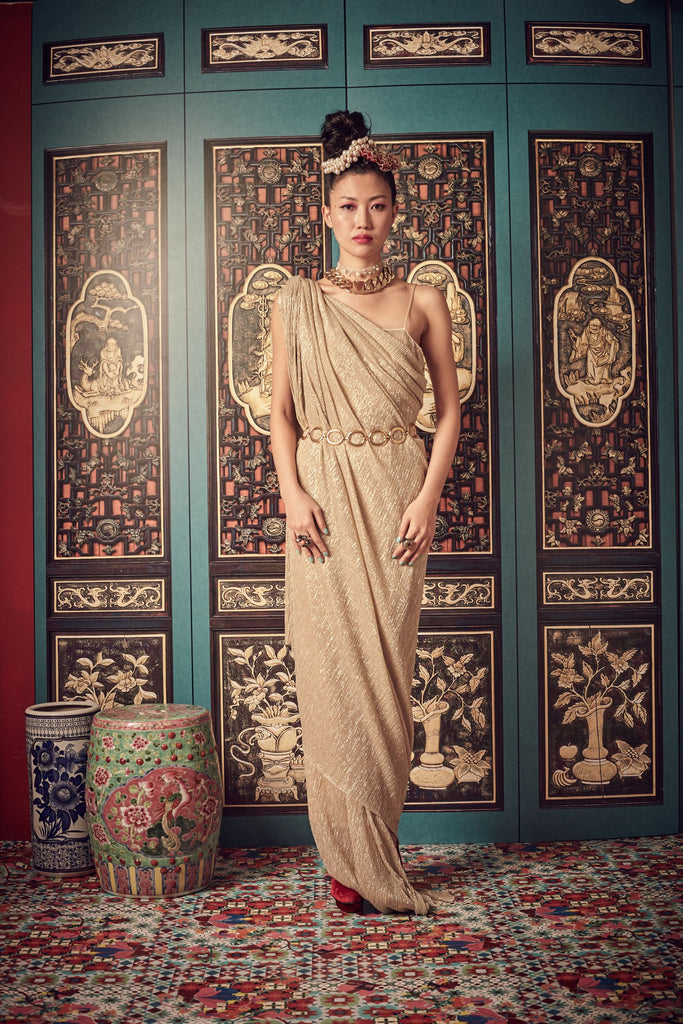 CREAM PLEATS WITH SILVER TAFFETA LINING - SINGLET GOWN - CREAM - Melinda Looi - Official Website