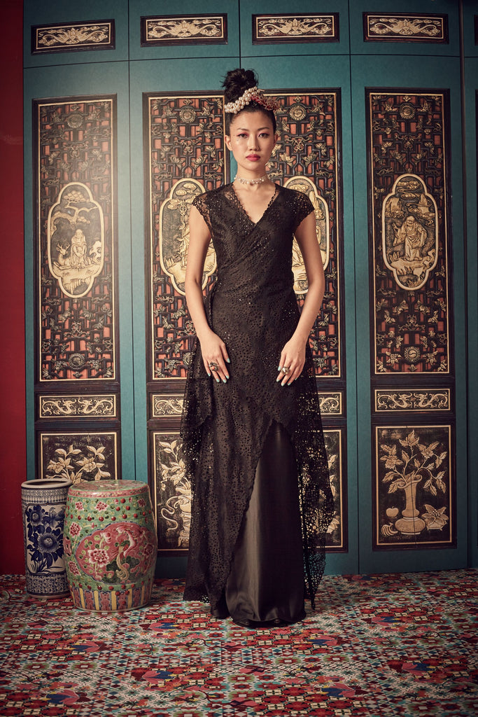 BLACK LACE - WRAP DRESS BIAS CUT GOWN - BLACK - Melinda Looi - Official Website