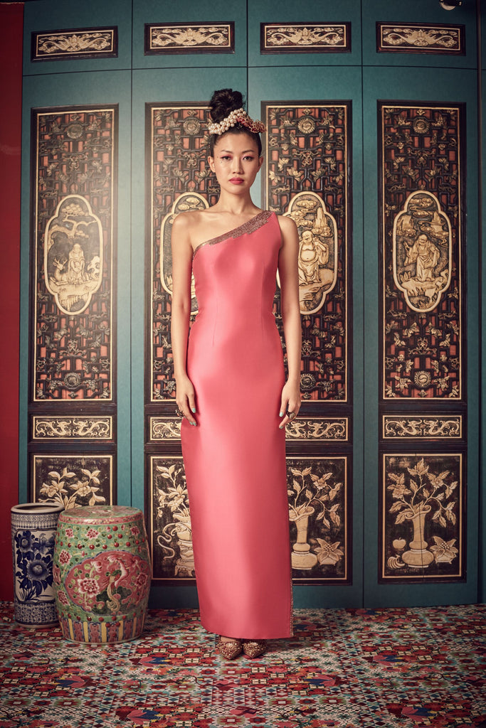 BARBIE PINK TAFFETA - ONE SHOULDER GOWN - PINK