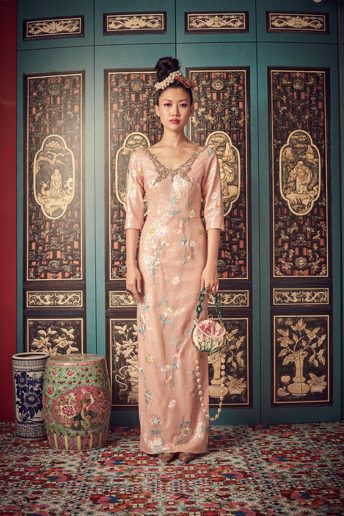 PEACH SEQUINS - V NECK GOWN WITH ELBOW LENGTH SLEEVES - PEACH - Melinda Looi - Official Website
