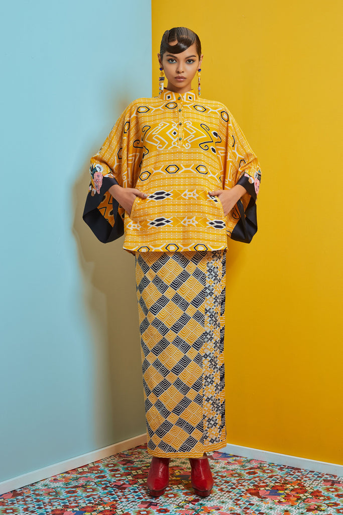 YELLOW AND NAVY BATIK - KIMONO SLEEVE TOP WITH FLORAL PATCH WORK AND WRAP SKIRT - Kurung Moden