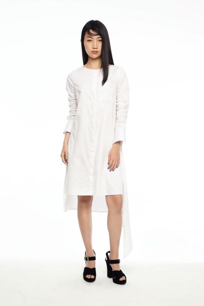 WHITE SHIRT DRESS WITH TAIL HEM FLAP - WHITE - Melinda Looi - Official Website