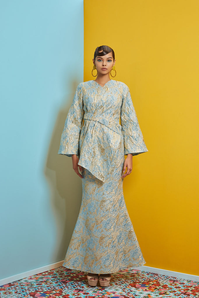 TEAL GOLD JACQUARD - V NECK TOP WITH A-SYMMETRICAL PLEATED HEM AND BIAS CUT MERMAID SKIRT - Kurung Moden