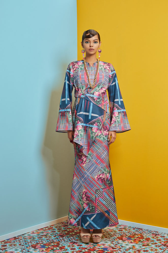MULTIPLE PRINTS POLYESTER - V NECK TOP WITH A-SYMMETRICAL PLEATED HEM AND BIAS CUT MERMAID SKIRT - Kurung moden