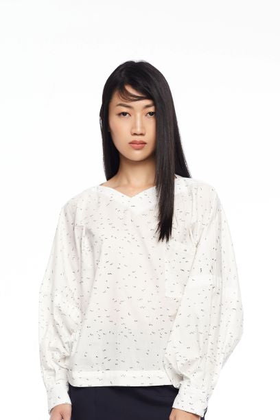 ZIG ZAG LALA FOR MELINDA LOOI - DROP SHOULDER SHIRT WITH EXAGGERATED PLEATED SLEEVES - PRINT - Melinda Looi - Official Website