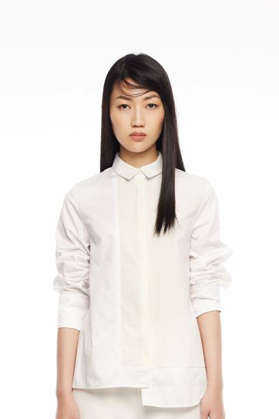 WHITE COLOUR BLOCK SHIRT - WHITE - Melinda Looi - Official Website
