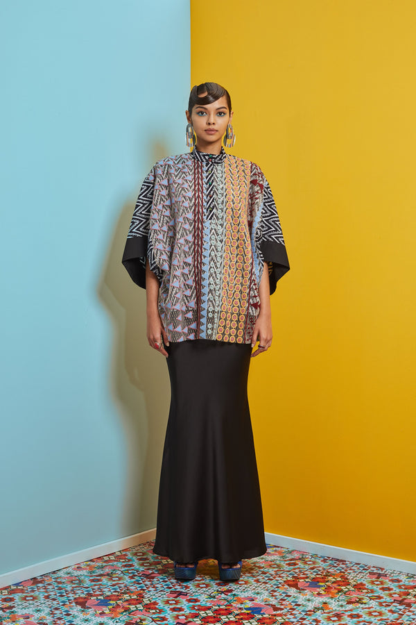 KAFTAN TOP WITH BIAS CUT SKIRT - BAJU KEDAH LABUH - BLACK