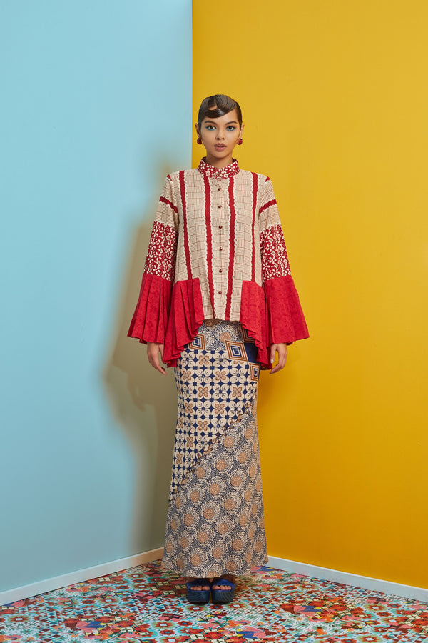RED VISCOSE BATIK WITH RED AND NAVY COTTON BATIK - PLEATED SLEEVE AND HEM BAJU KURUNG - RED