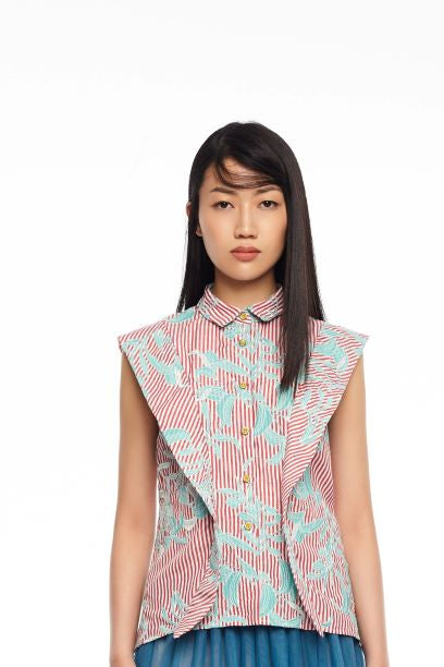 RED STRIPES AND EMBROIDED TEAL LEAF SLEEVELESS SHIRT WITH FLAP PANEL - RED
