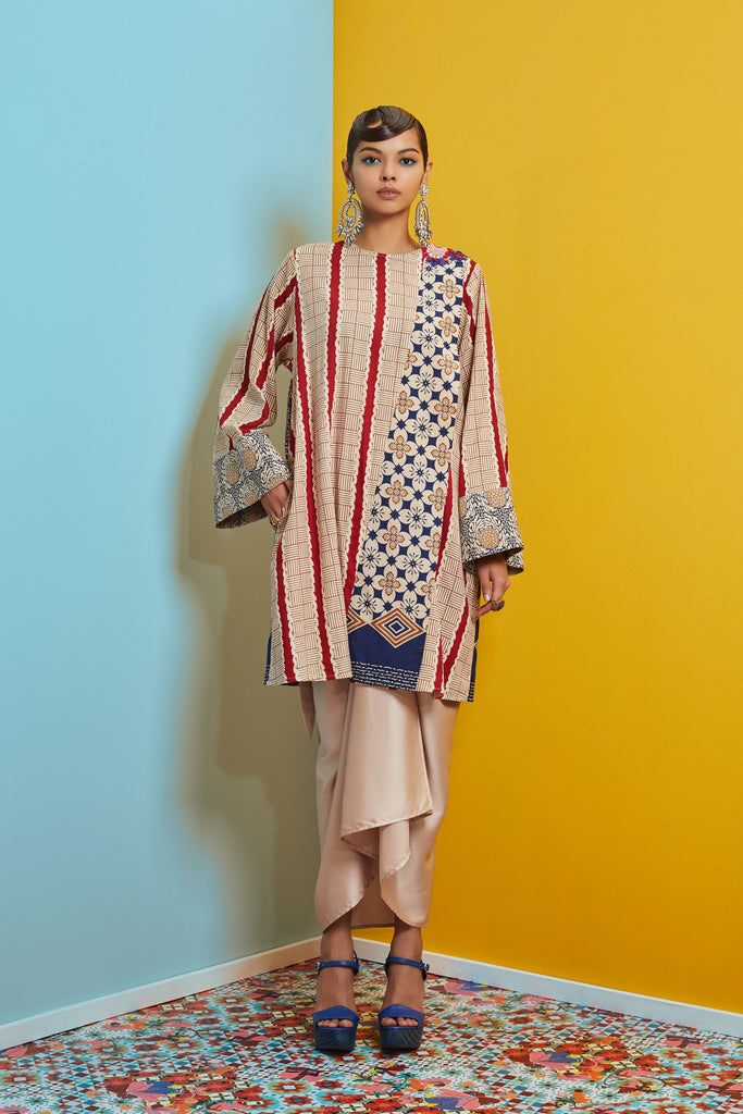 NUDE AND RED COTTON BATIK - BAJU PAHANG LABUH WITH PATCH ON LACE AND SARUNG SKIRT - NUDE