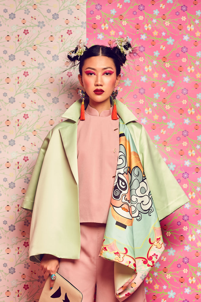 MINT GREEN BRIDAL SATIN WITH PRINTED OPERA FACE LAPEL JACKET - MINT GREEN