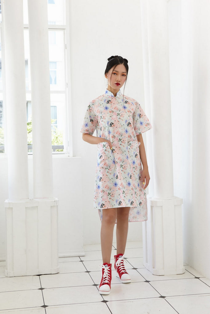 Pre-Order PASTEL PINK AND BLUE PRINTED FLORAL COTTON - A LINE DRESS WITH DETACHABLE COLLAR - MULTI