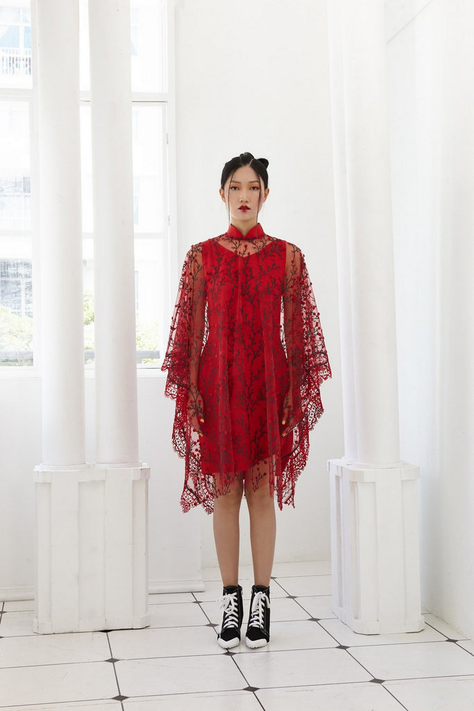 Pre-Order RED EMBROIDED TULLE WITH RED SATIN SILK - PONCHO WITH DETACHABLE MANDARIN COLLAR AND INNER BIAS DRESS - RED