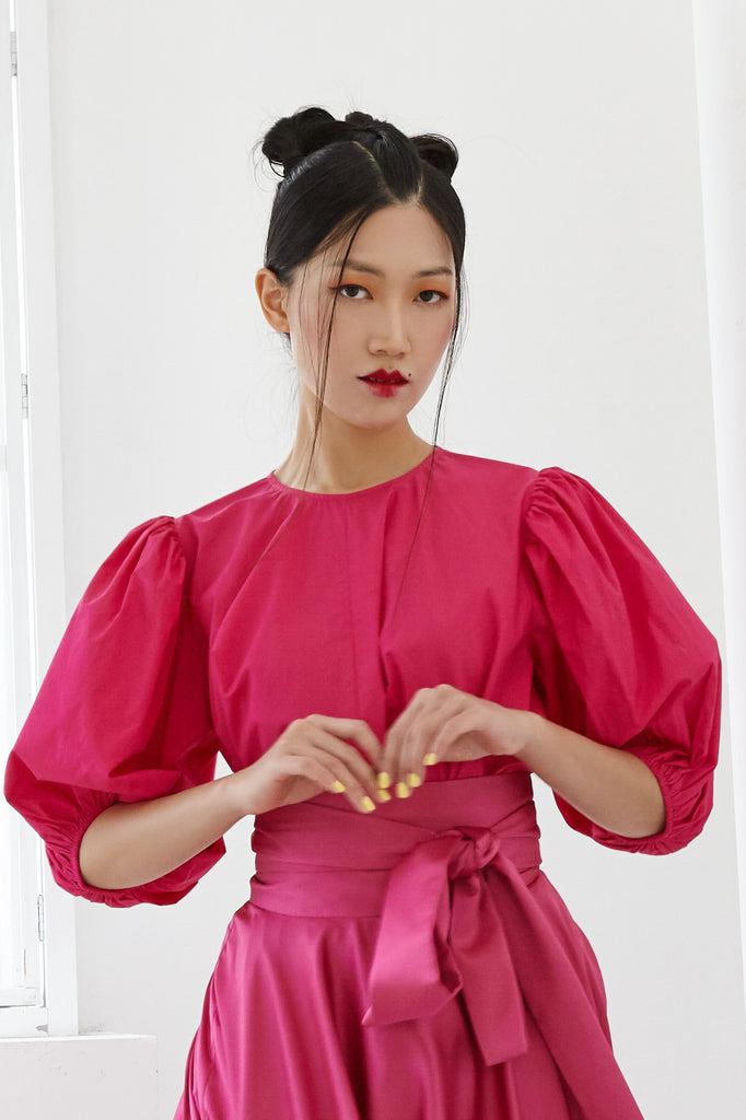 Pre-Order HOT PINK COTTON - OVERSIZED FLARE TOP WITH GATHERED SLEEVE AND BELT - FUCHSIA