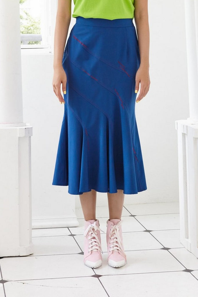 Pre-Order NAVY BLUE ANTIMICROBIAL FABRIC WITH STYLIZED TOP STITCHING - PANELLED FITTED FLARED SKIRT - BLUE