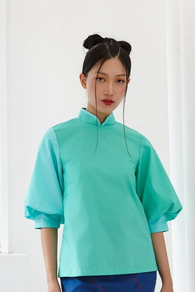 Pre-Order TEAL AND GREEN COTTON - TOP WITH ELBOW BISHOP SLEEVE AND MANDARIN COLLAR - TEAL