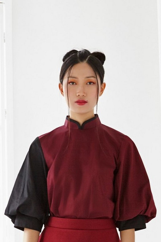 Pre-Order MAROON AND BLACK COTTON - TOP WITH ELBOW BISHOP SLEEVE AND MANDARIN COLLAR - BLACK