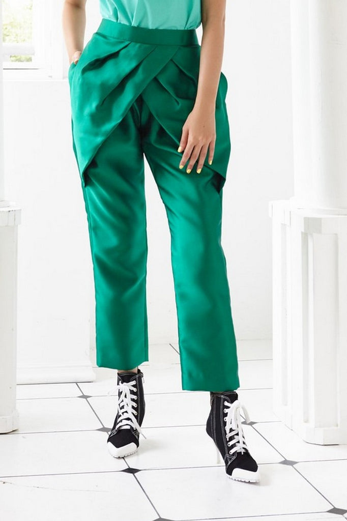Pre-Order GREEN TAFFETA - PLEATED PETAL TROUSERS - GREEN