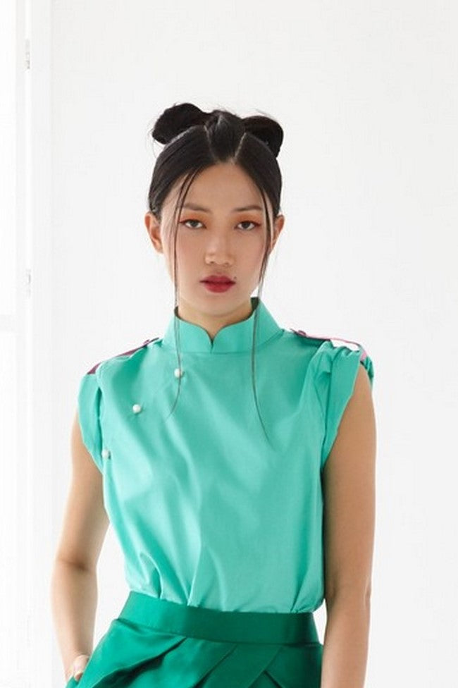 Pre-Order GREEN COTTON WITH PINK COTTON SHOULDER FLAP - MANDARIN COLLAR TOP WITH SHOULDER FLAP - GREEN